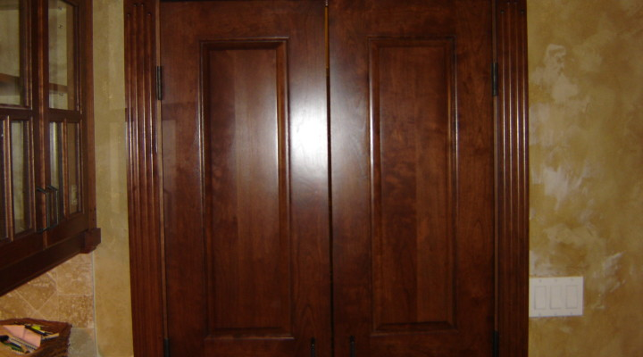 Cherry interior doors built to match cabinetry