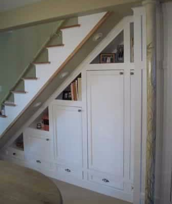 Built-in storage under stairs